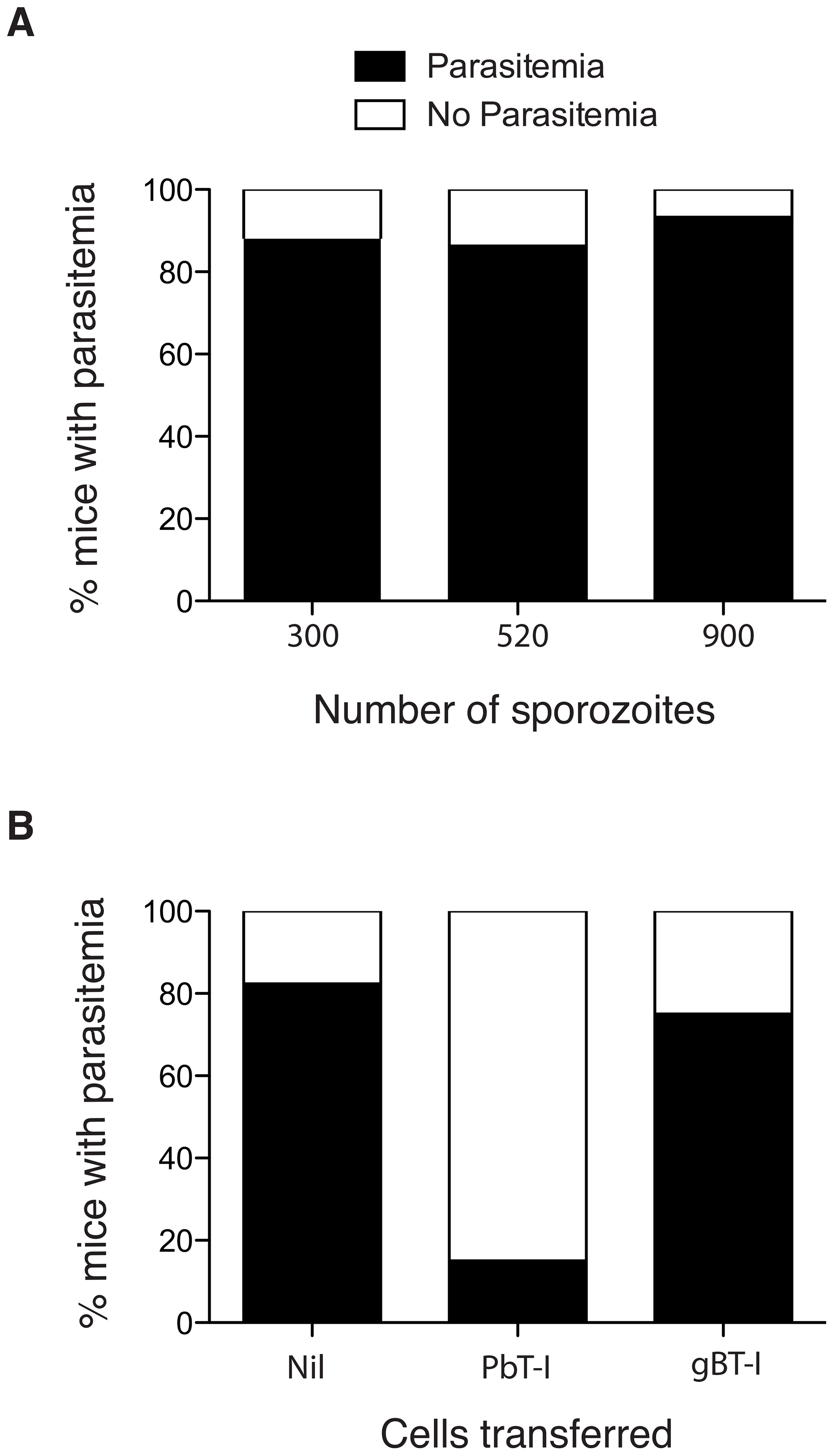 Activated PbT-I cells confer protection against a sporozoite challenge.