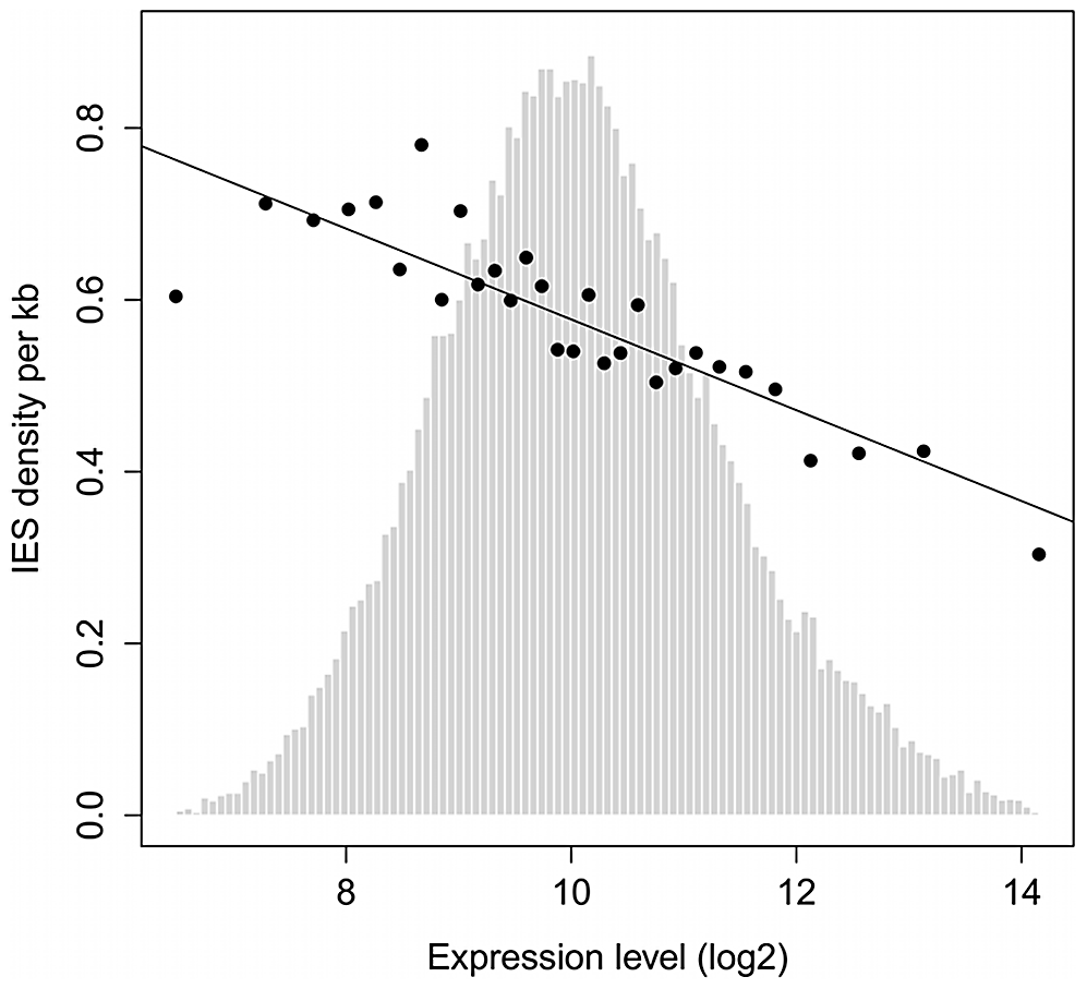 IES density is inversely proportional to gene expression level.