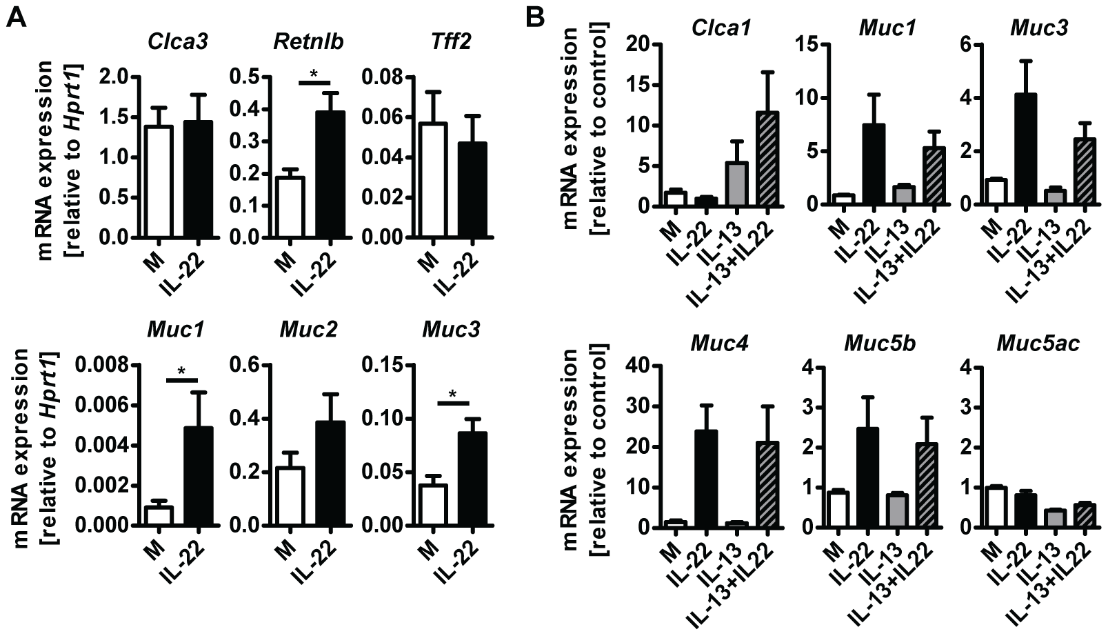 IL-22 acts directly on epithelial cells to induce mucin expression.