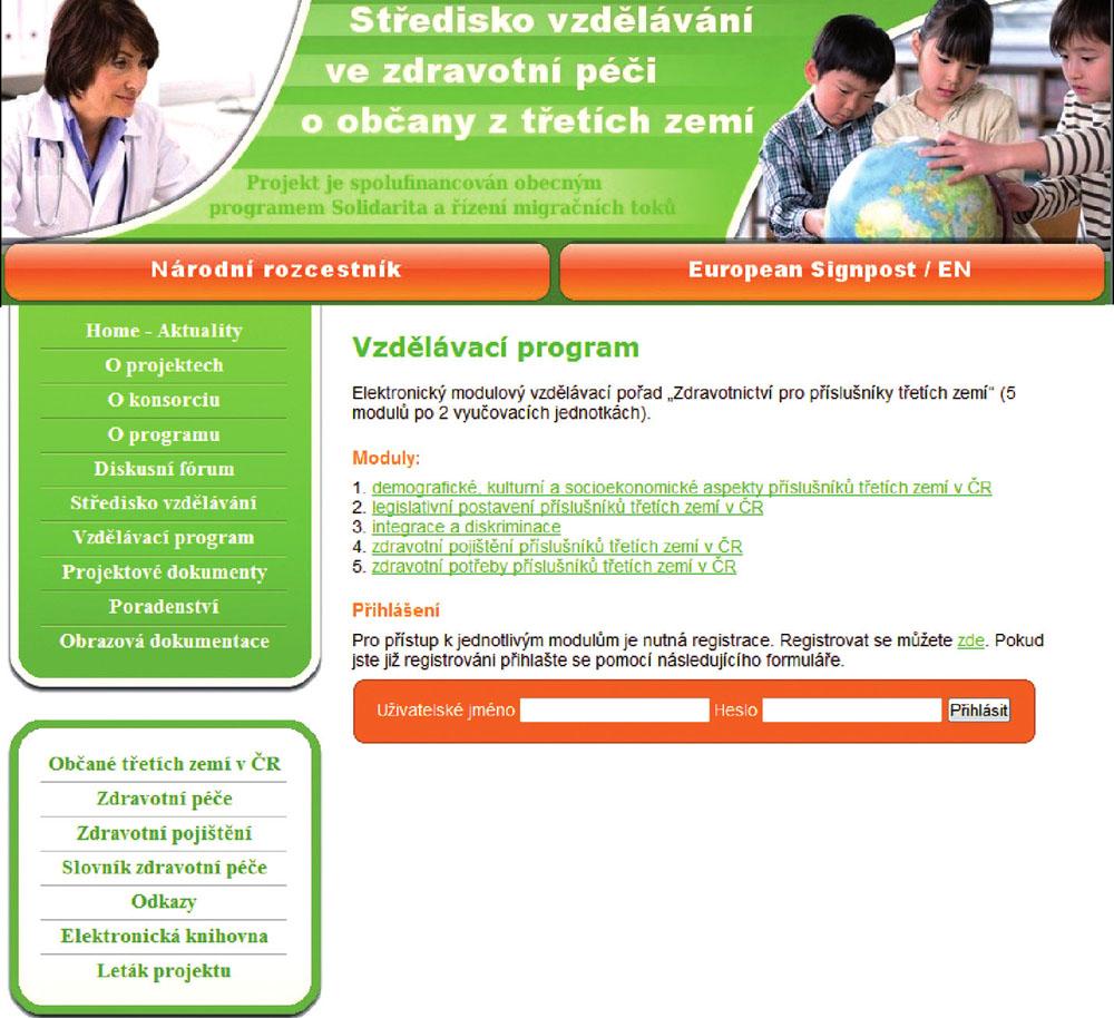 """Ukázka vzdělávacího programu na portálu """"Středisko vzdělávání ve zdravotní péči o občany třetích zemí""""."""