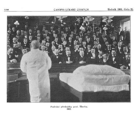 Poslední Eiseltova přednáška před odchodem na odpočinek v roce 1902