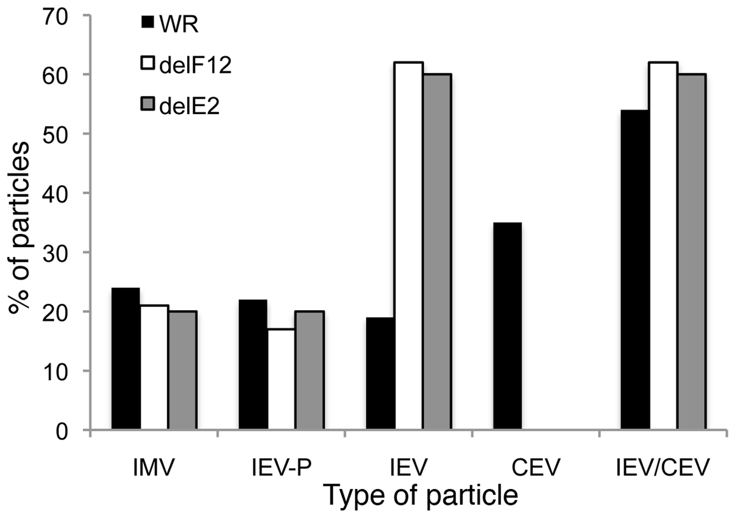 Enumeration of types of virion produced by WR, vΔF12L and vΔE2L.