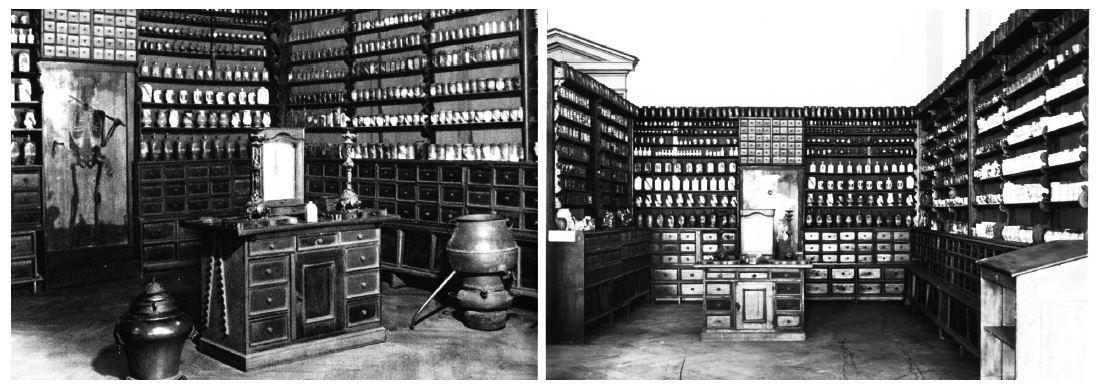 Dva pohledy na repositoria hradčanské kapucínské lékárny v někdejší expozici v Národním muzeu