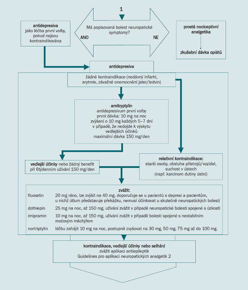 Schéma 4. Guidelines pro aplikaci neuropatických analgetik 1.