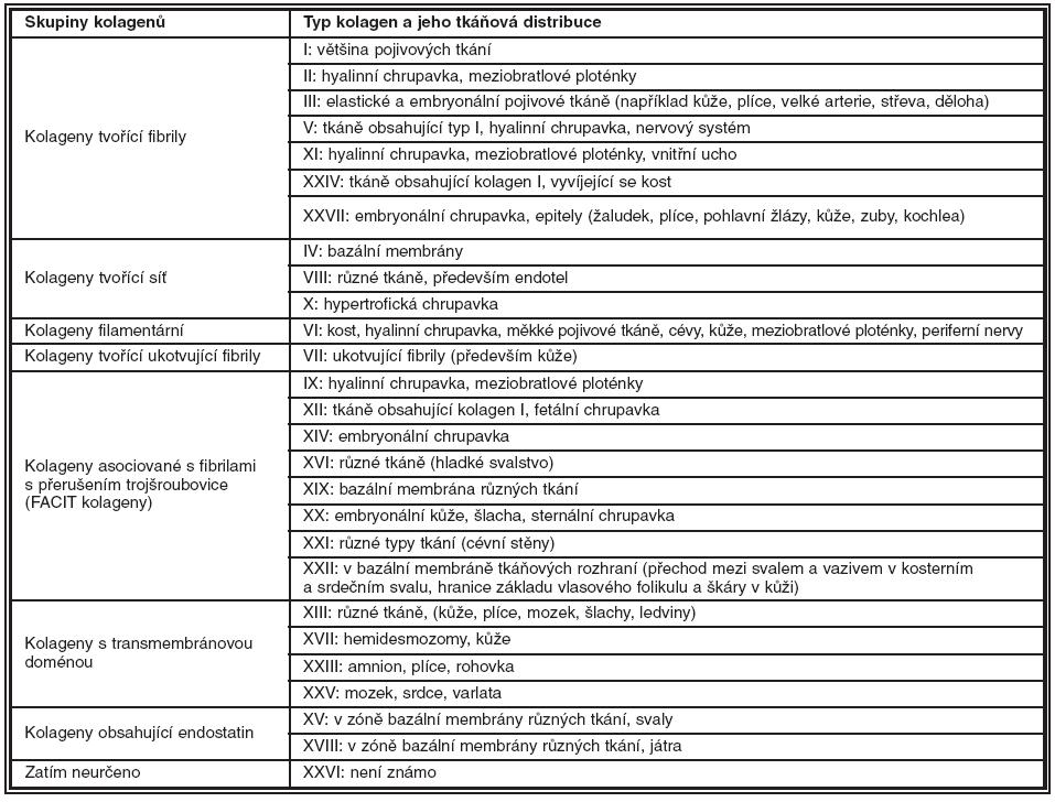 Kategorizace kolagenů podle struktury a jejich distribuce v lidských tkáních. (BM: bazální membrána, FACIT: kolageny asociované s fibrilami s přerušením trojšroubovice