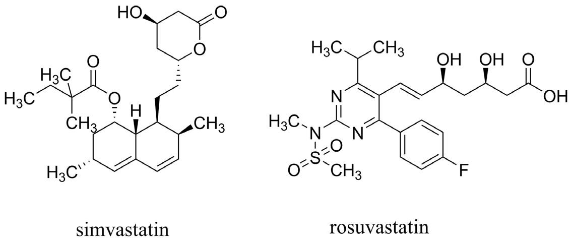 Simvastatin (zástupce první generace statinů) a rosuvastatin (představující druhou generaci statinů)