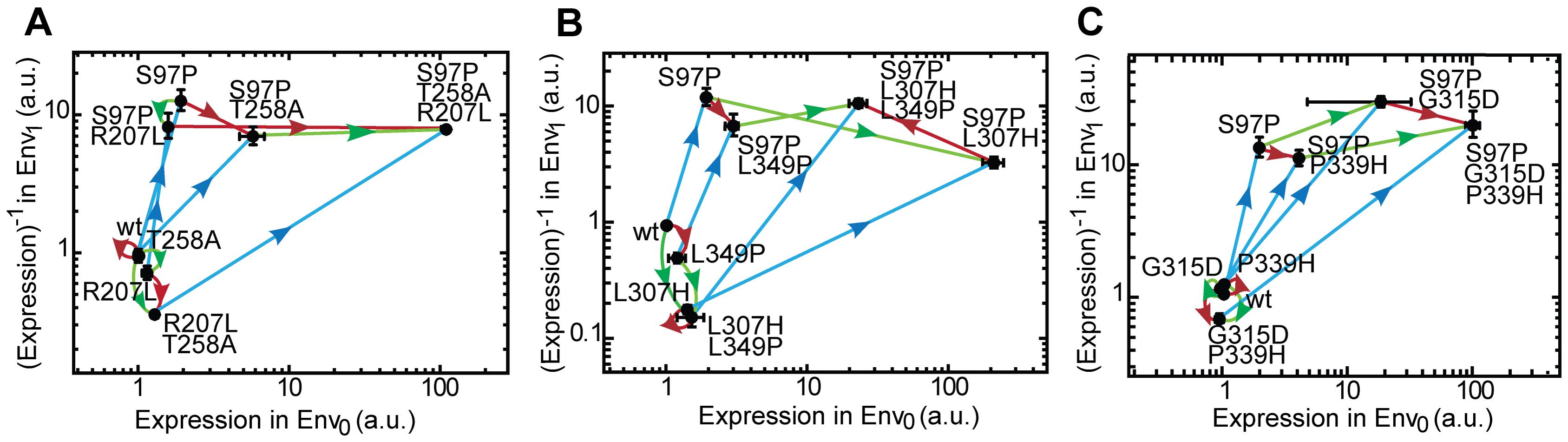 Adaptive trajectories towards the three inverse LacI variants.