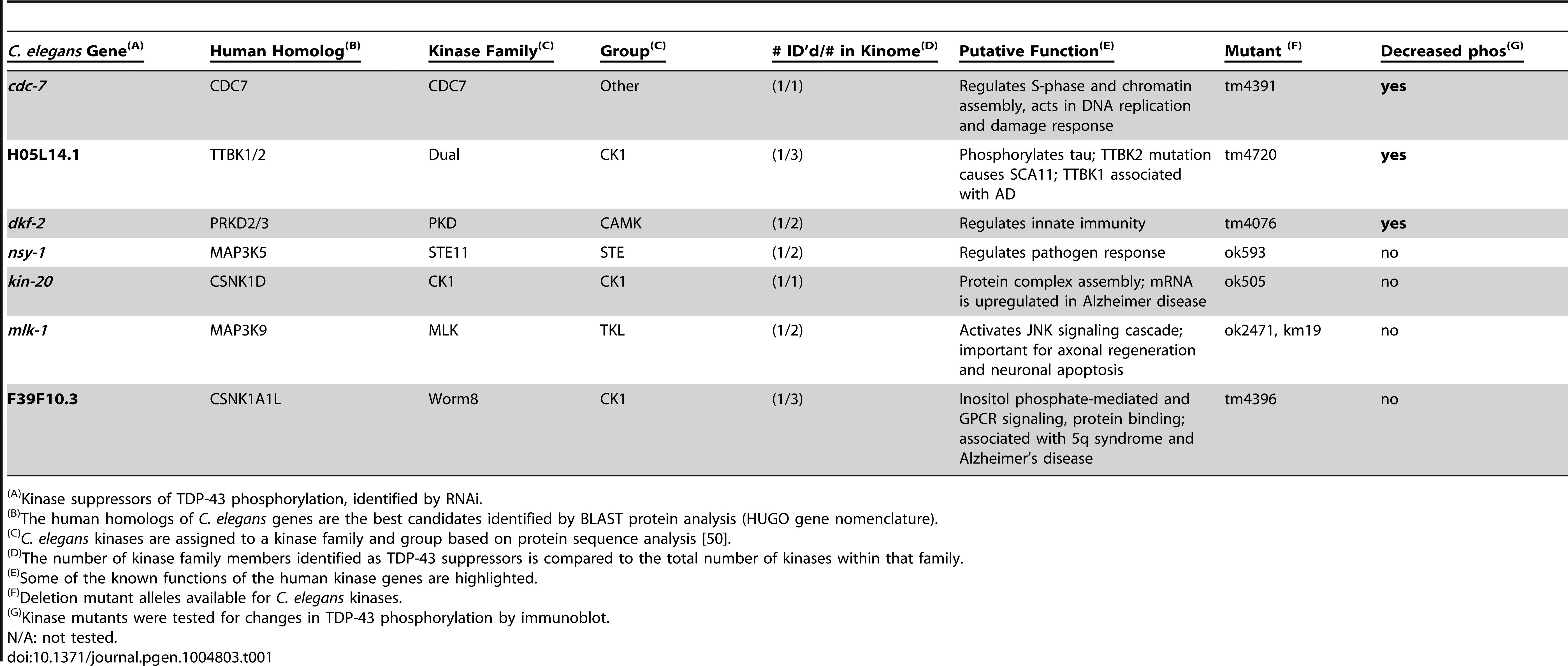 Candidate TDP-43 kinases identified by RNAi screening.