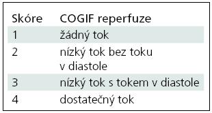 Klasifikace okluze a rekanalizace tepen COGIF (Consensus On Grading Intracranial Flow obstruction) [80].