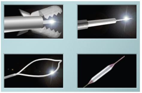 Počítačové okno k výběru akcesorií pro gastroskopické a koloskopické vyšetření