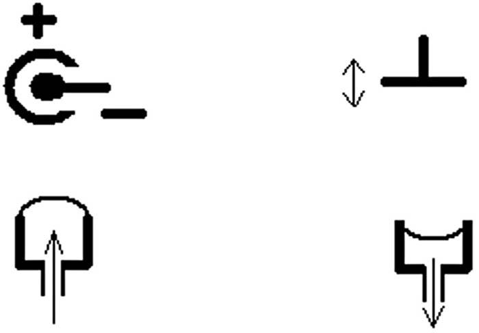 Možnosti elektrické a taktilní stimulace kůže – vlevo nahoře koncentrická stimulační elektroda, viz též obr. 4, vpravo nahoře vibrační stimulátor (elektromechanický nebo piezoelektrický), dole taktilní pneumatický stimulátor.