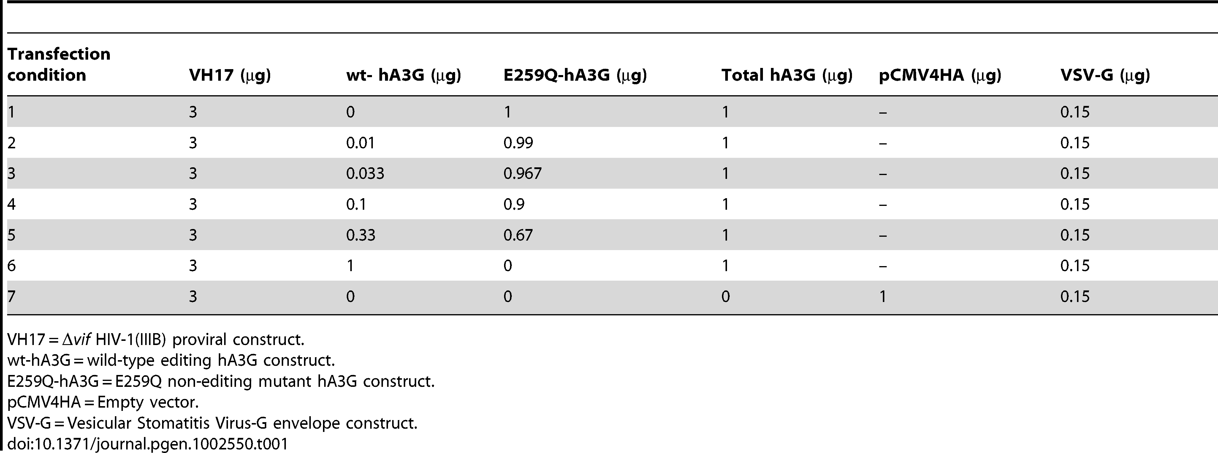 hA3G titration transfection conditions.