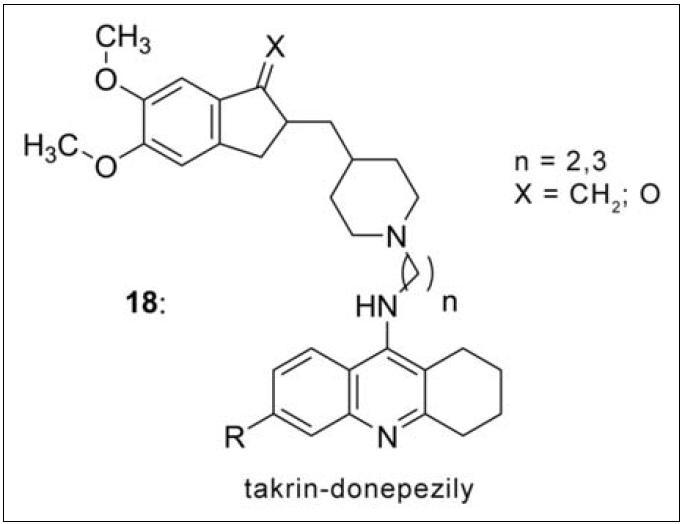 Takrin-donepezilová řada (18). Nejvyšší afinitu k AChE demonstroval derivát s dvěma methylenovými můstky (n = 2) a kyslíkovým atomem v indanové části.