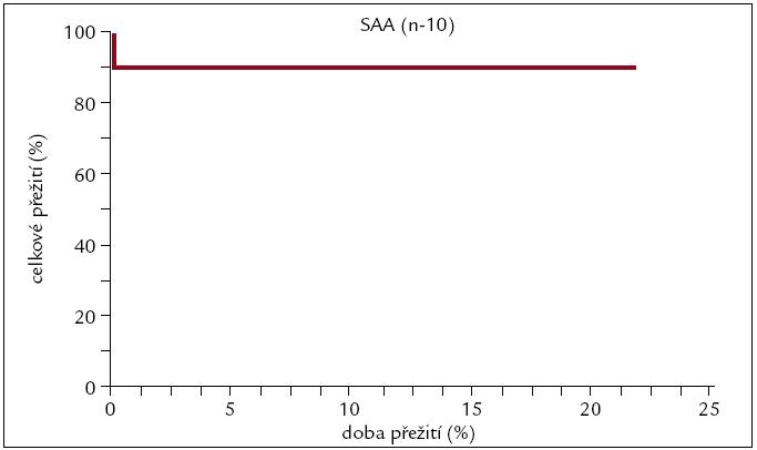 Pravděpodobnost přežití pacientů s SAA po alogenní transplantaci.