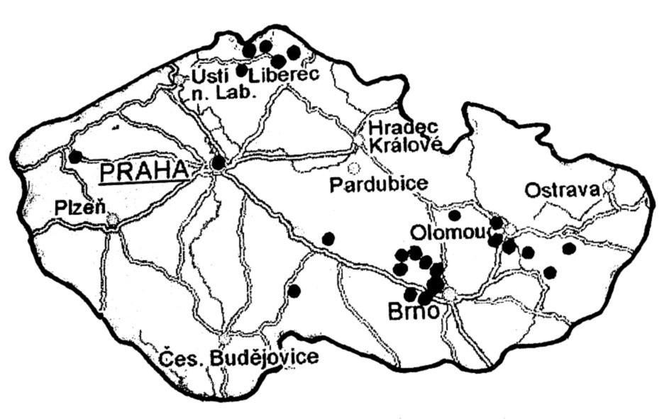 Lokality vyšetření. Fig. 1. Localities of examination.