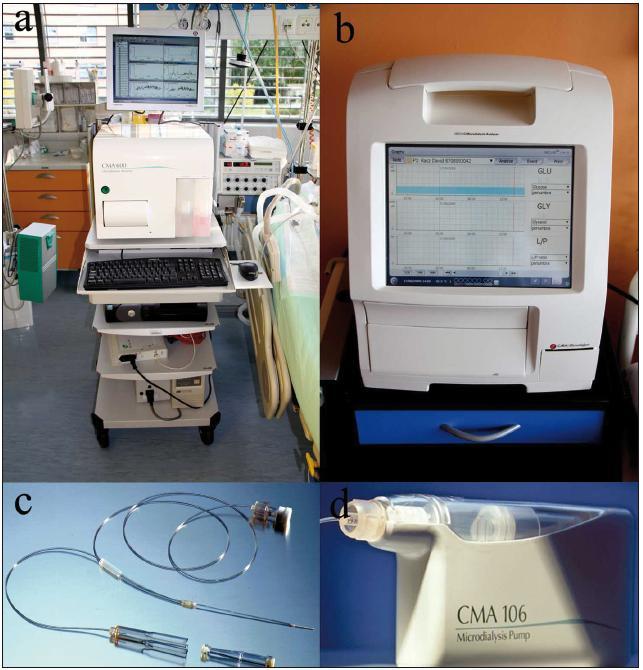 Mikrodialýza. Původní přístroj ke klinickému využití CMA 600 (A). Nová generace mikrodialyzačního přístroje, tzv. ISCUS flex (B). Mikrodialyzační katétr. Nahoře je závit k připojení k perfuzní pumpě, uprostřed katétr, který se aplikuje do mozkové tkáně a v dolní části obrázku pak koncovka k napojení mikroampulky (C). Mikrodialyzační pumpa CMA 106 s konstantní rychlostí 0,3 μl/ min (D).