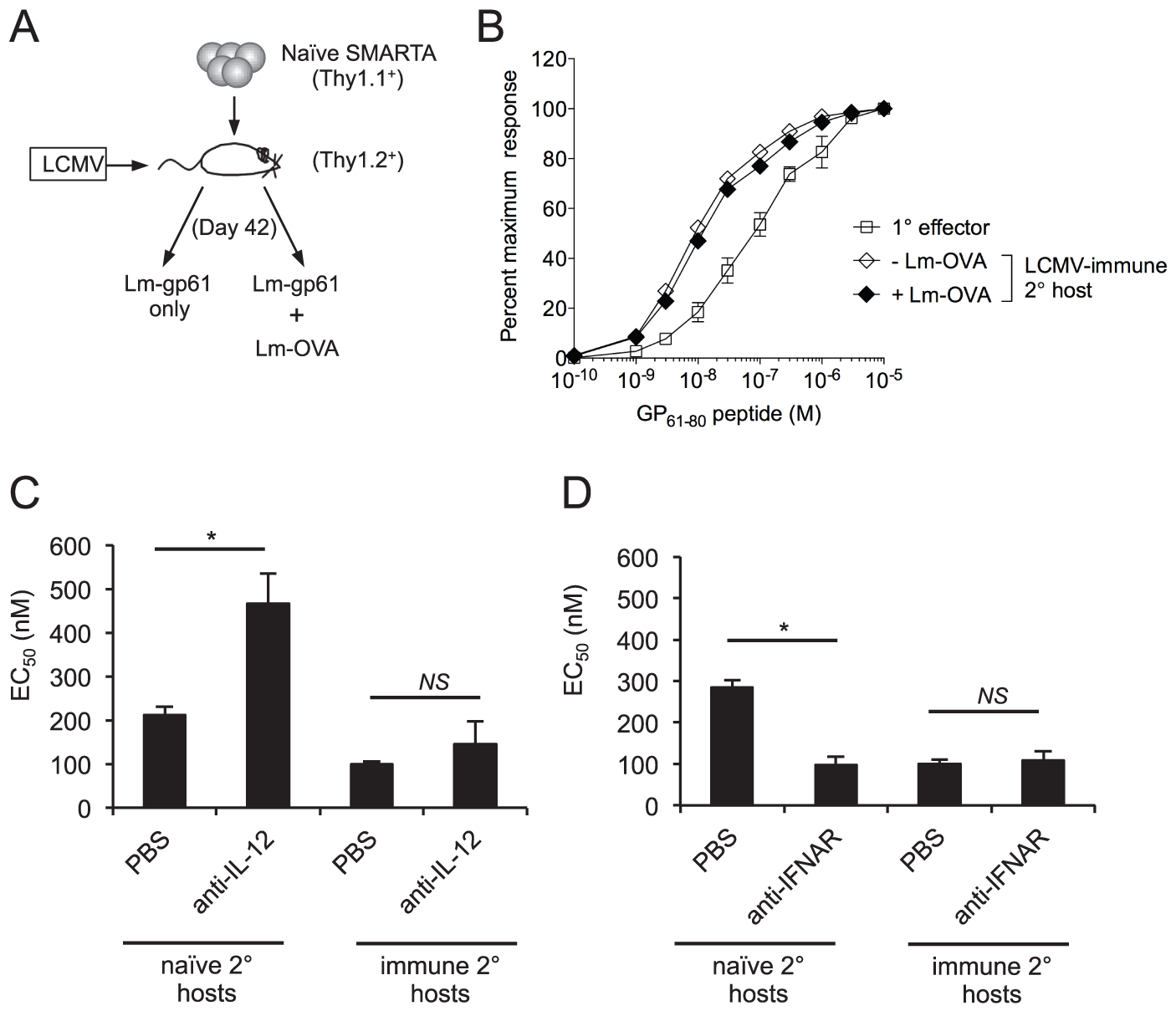 Functional avidity of secondary SMARTA Th1 cells is regulated by inflammatory environment.