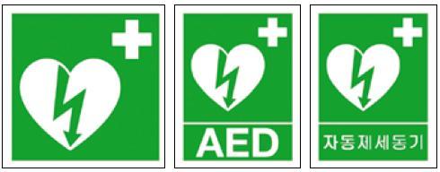Obr. 7–9. Základní označení AED podle aktuálního doporučení ILCOR a označení doplněná tabulkou s písmeny (anglická a korejská verze).