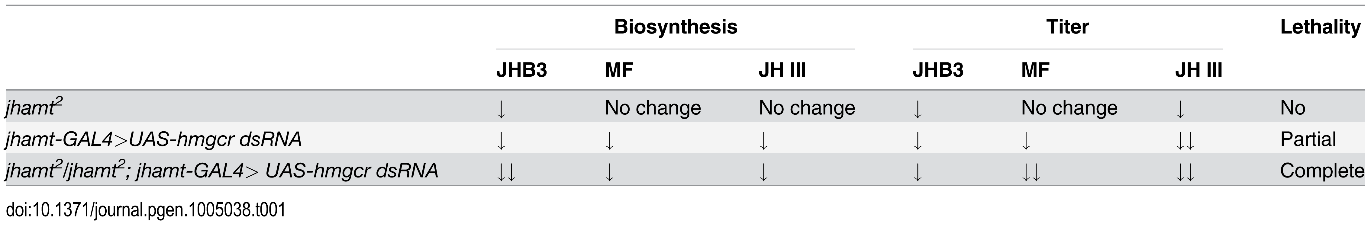 Comparisons of JH biosynthesis, JH titer, and lethality among three genotypes.
