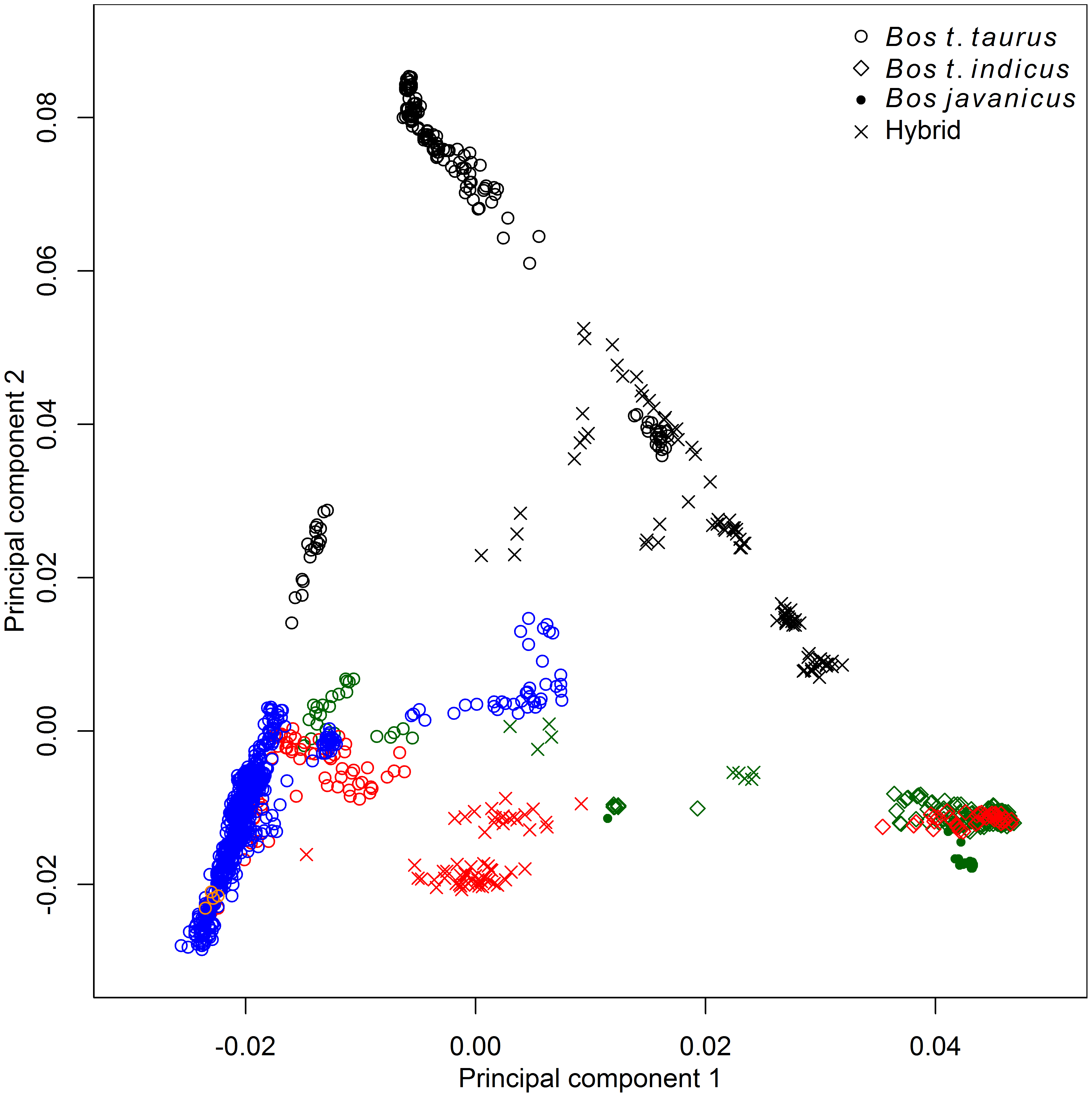 Principal component analysis of 1,543 animals genotyped with 43,043 SNPs.