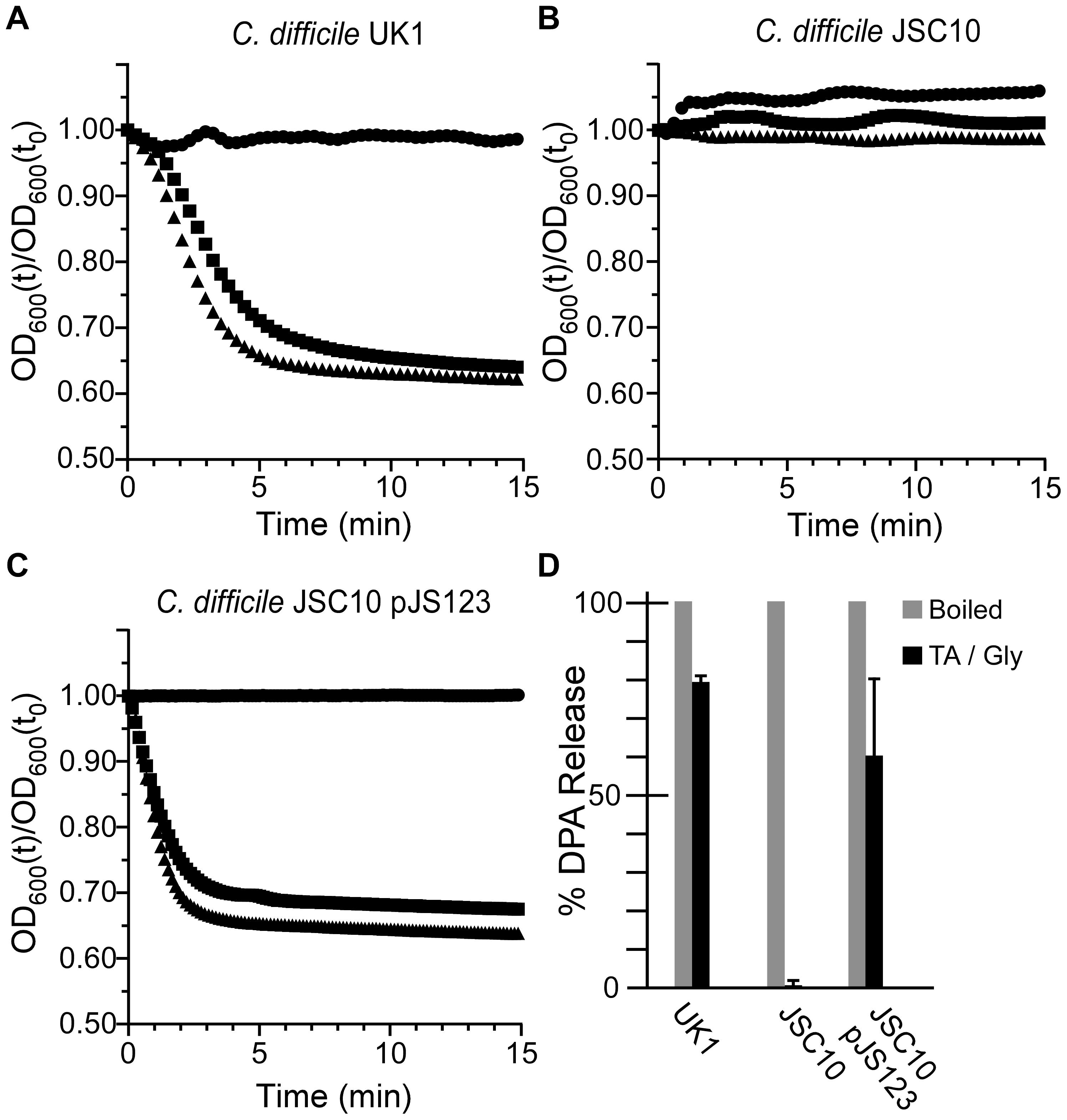 <i>C.</i> <i>difficile cspC</i> is essential for bile acid-mediated spore germination.