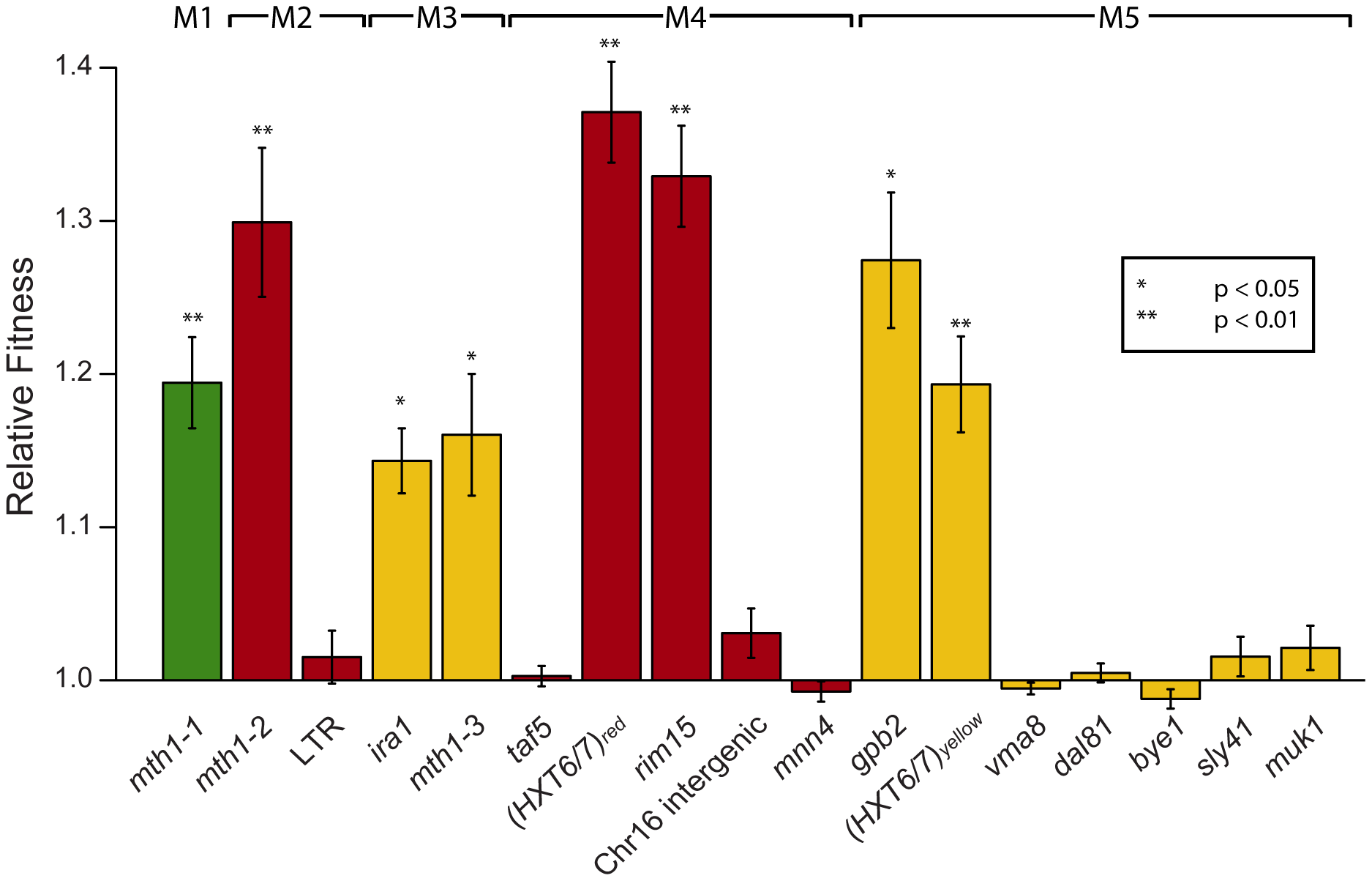 Relative fitness of individual mutations derived from competition experiments.