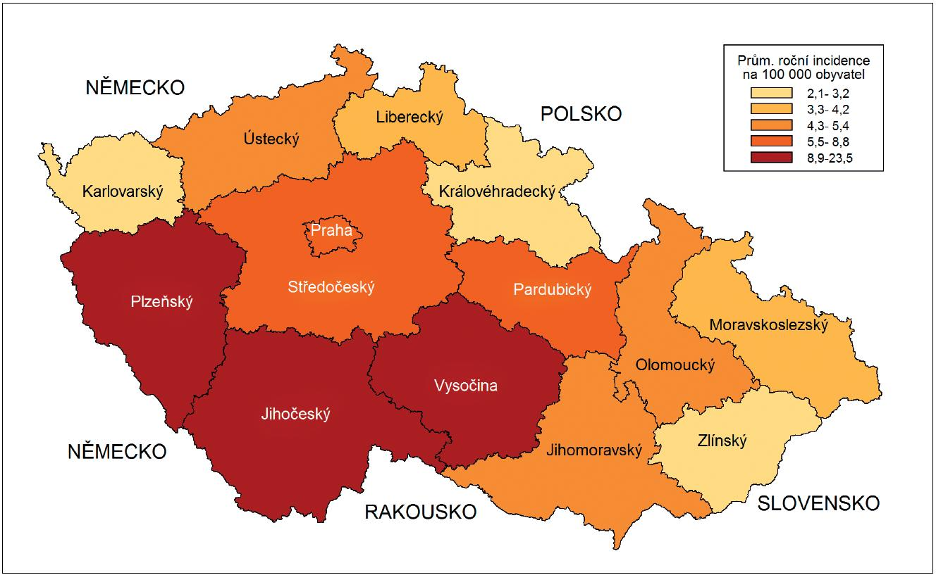 Mapa 1 Klíšťová encefalitida, 2001–2011, průměrná roční incidence na 100 000 obyvatel jednotlivých krajů ČR Map 1 Tick-borne encephalitis, 2001–2011 average annual incidence per 100 000 population per administrative region in the Czech Republic