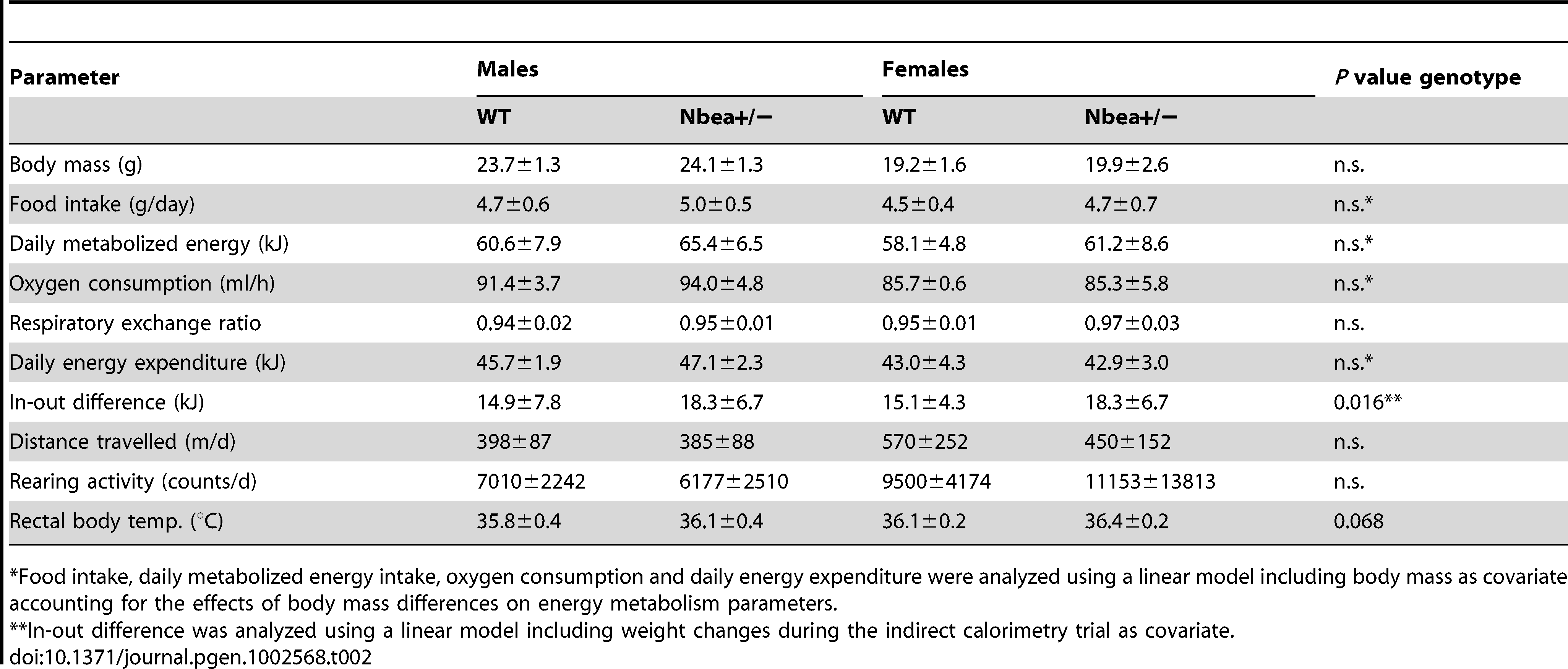 Energy balance and motor activity of 8 week-old WT and <i>Nbea</i>+/− mice, fed with standard chow <i>ad libitum</i> over 24 h (n=8/group; mean±SD).