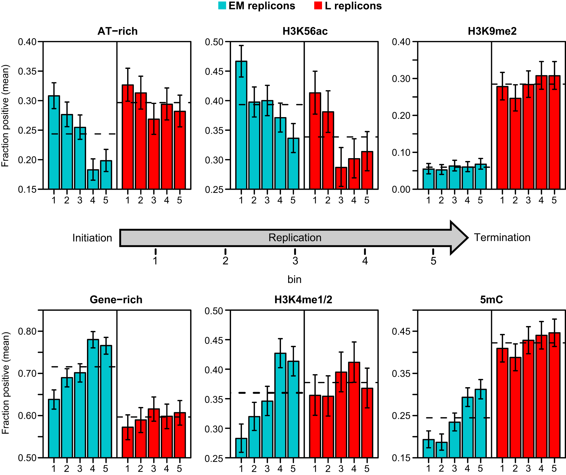 Distribution of genetic and epigenetic features within replicons.