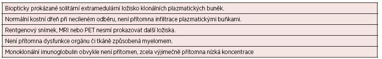 Kritéria solitárního mimokostního (extramedulárního) plazmocytomu*