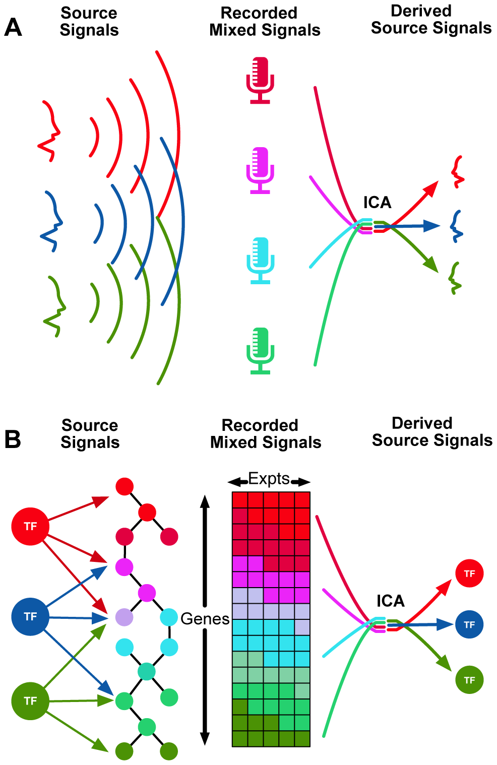 Independent Component Analysis (ICA) can be used to identify transcriptional modules from gene expression data.