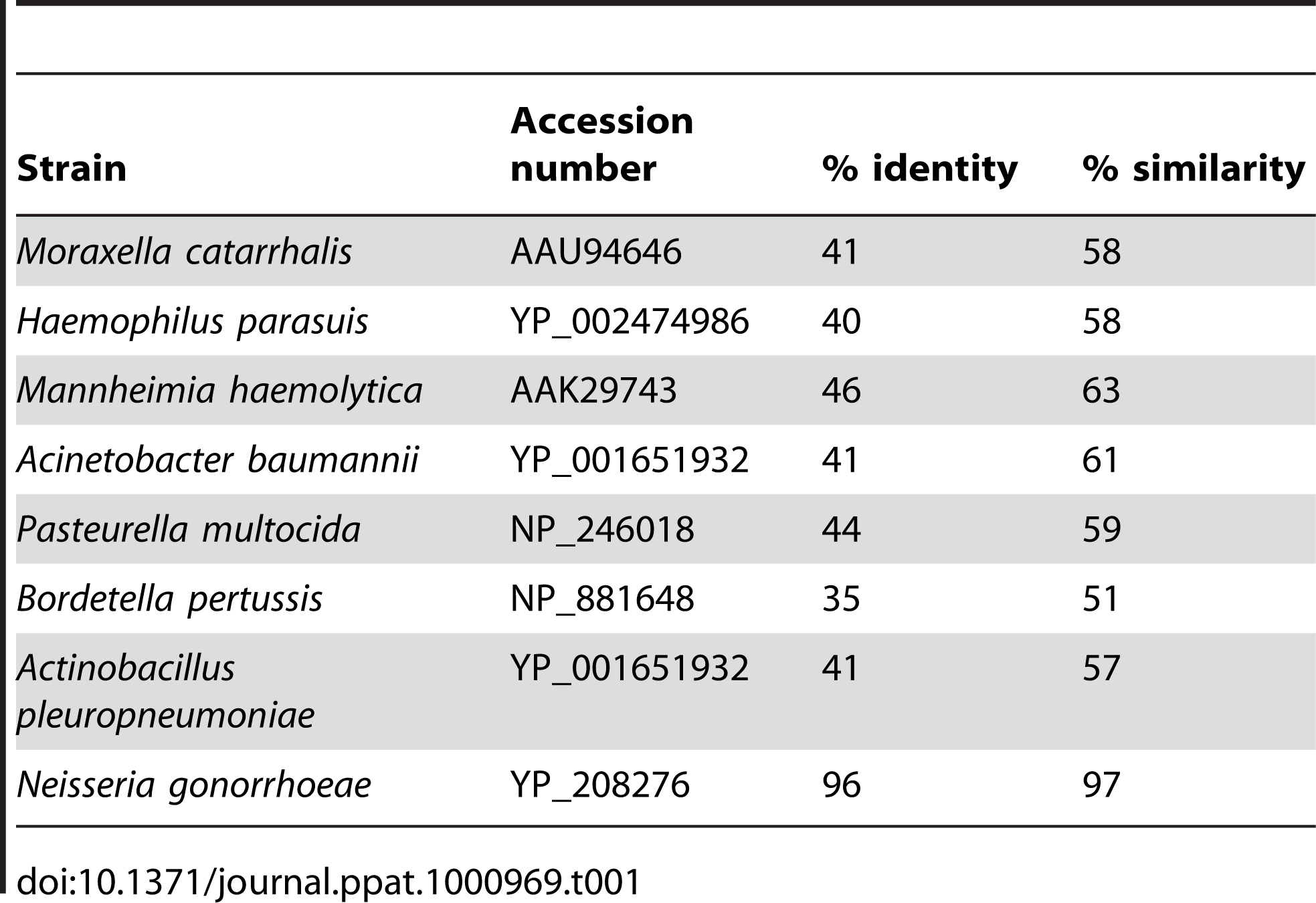 Identity and similarity of ZnuD with its homologs.