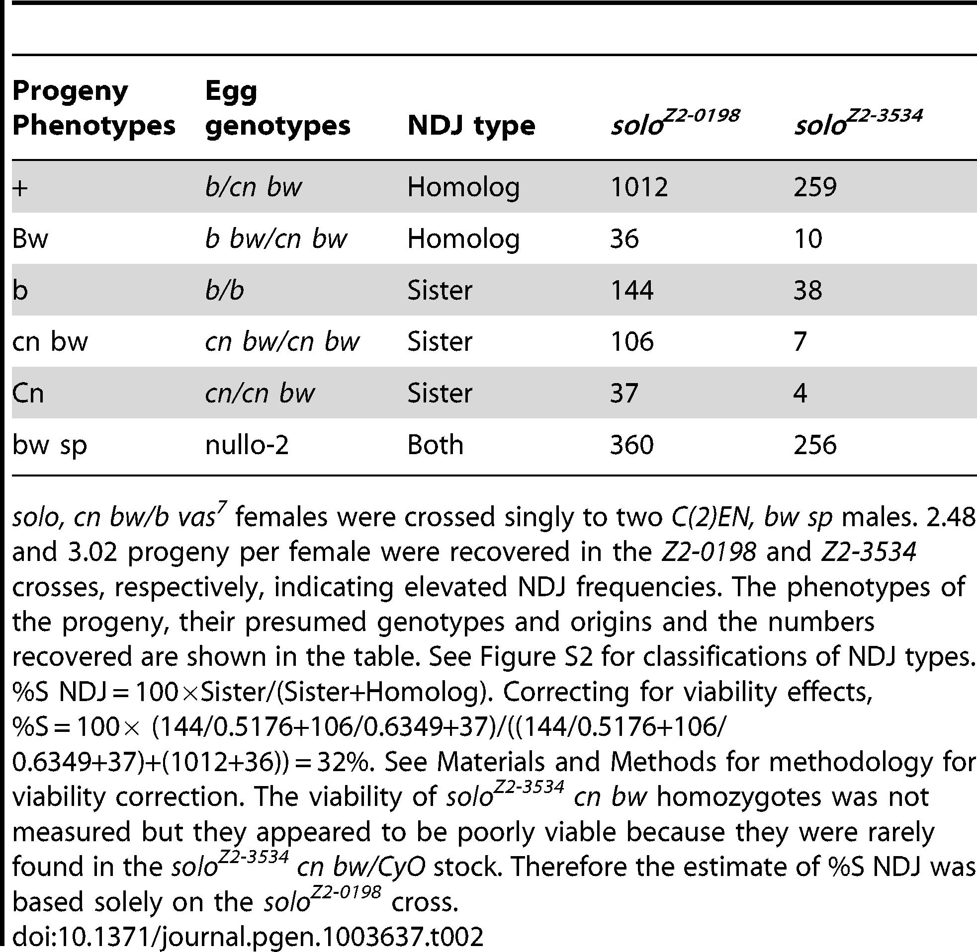 Sister chromatid versus homolog NDJ for chromosome 2 in <i>solo</i> females.