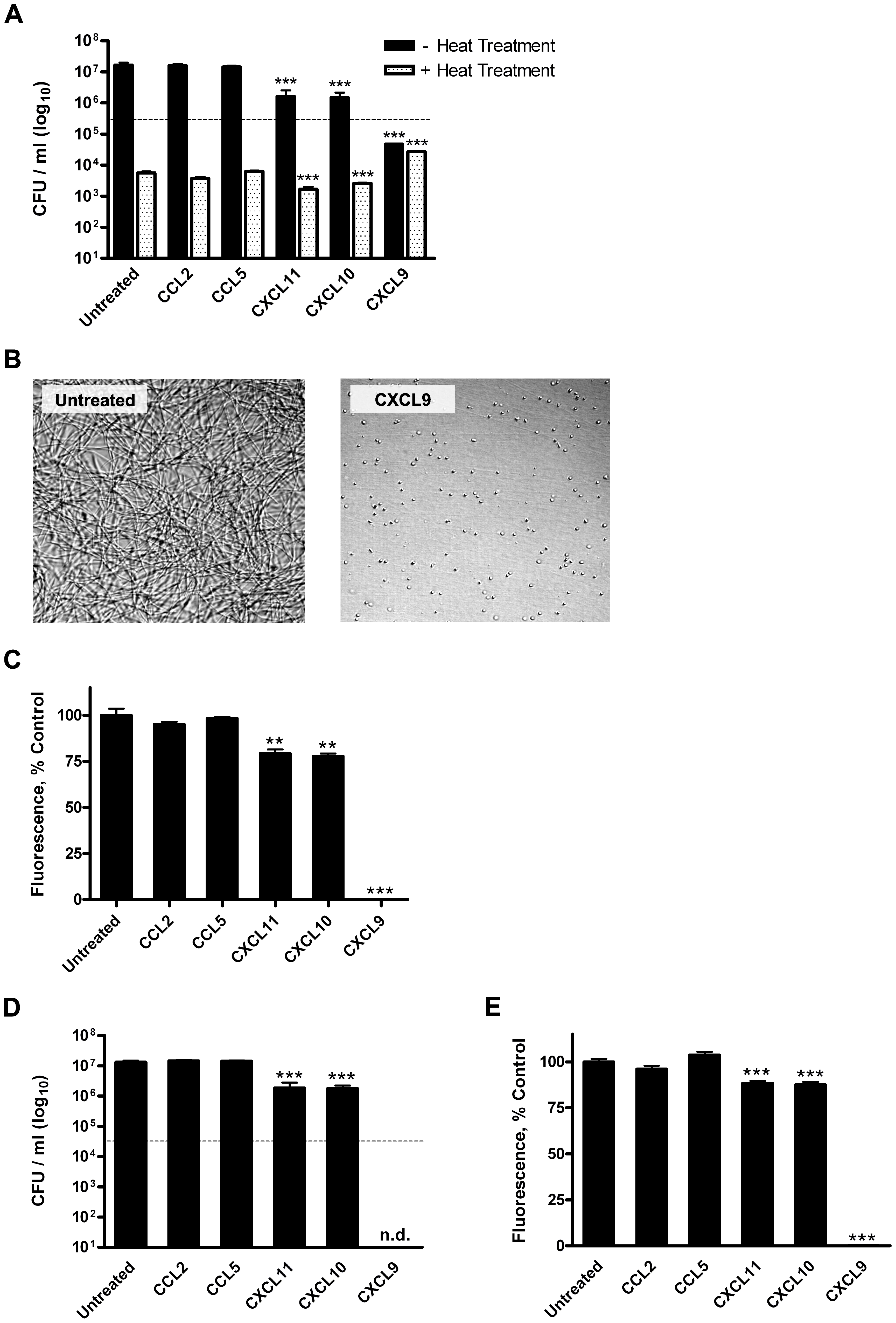 Direct chemokine-mediated antimicrobial effects against <i>B. anthracis</i> Sterne strain spores and bacilli.
