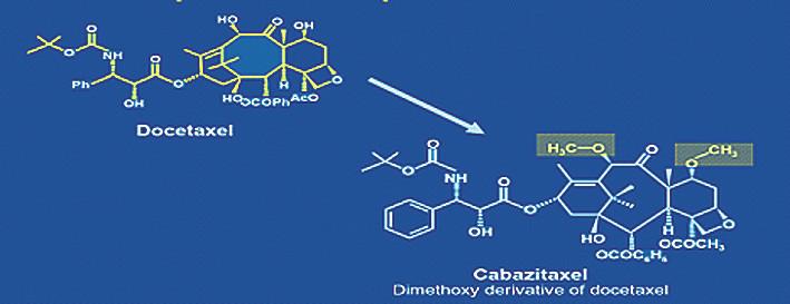 Chemická struktura docetaxelu akabazitaxelu Fig. 3. Docetaxel and cabazitaxel chemical structure