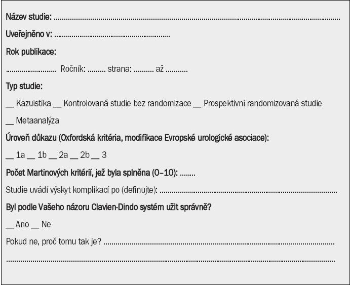 Příloha B. Formulář pro extrakci dat pro hodnocení popisu komplikací po urologických výkonech pomocí Clavien-Dindo systému.
