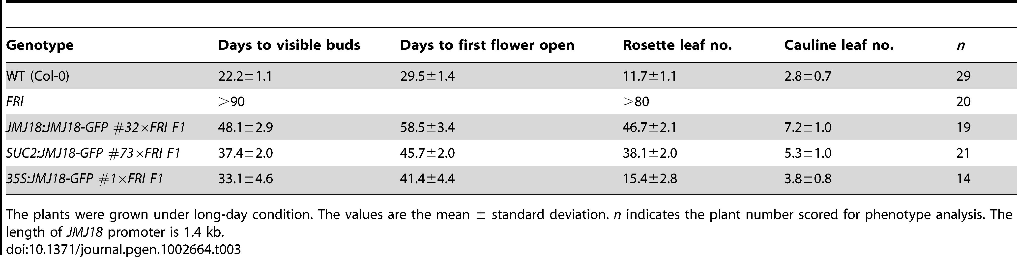 <i>JMJ18</i> overexpression suppresses the <i>FRI</i> late-flowering phenotype.