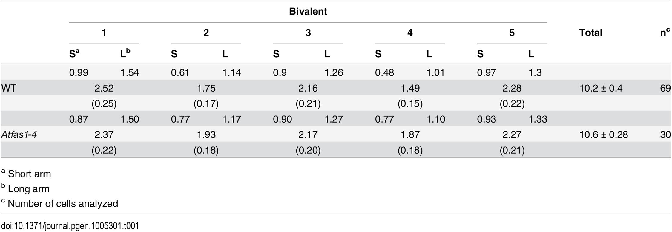 Mean chiasma frequencies per cell, per bivalent, and per bivalent arm.