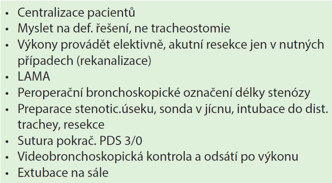 Taktika resekcí trachey