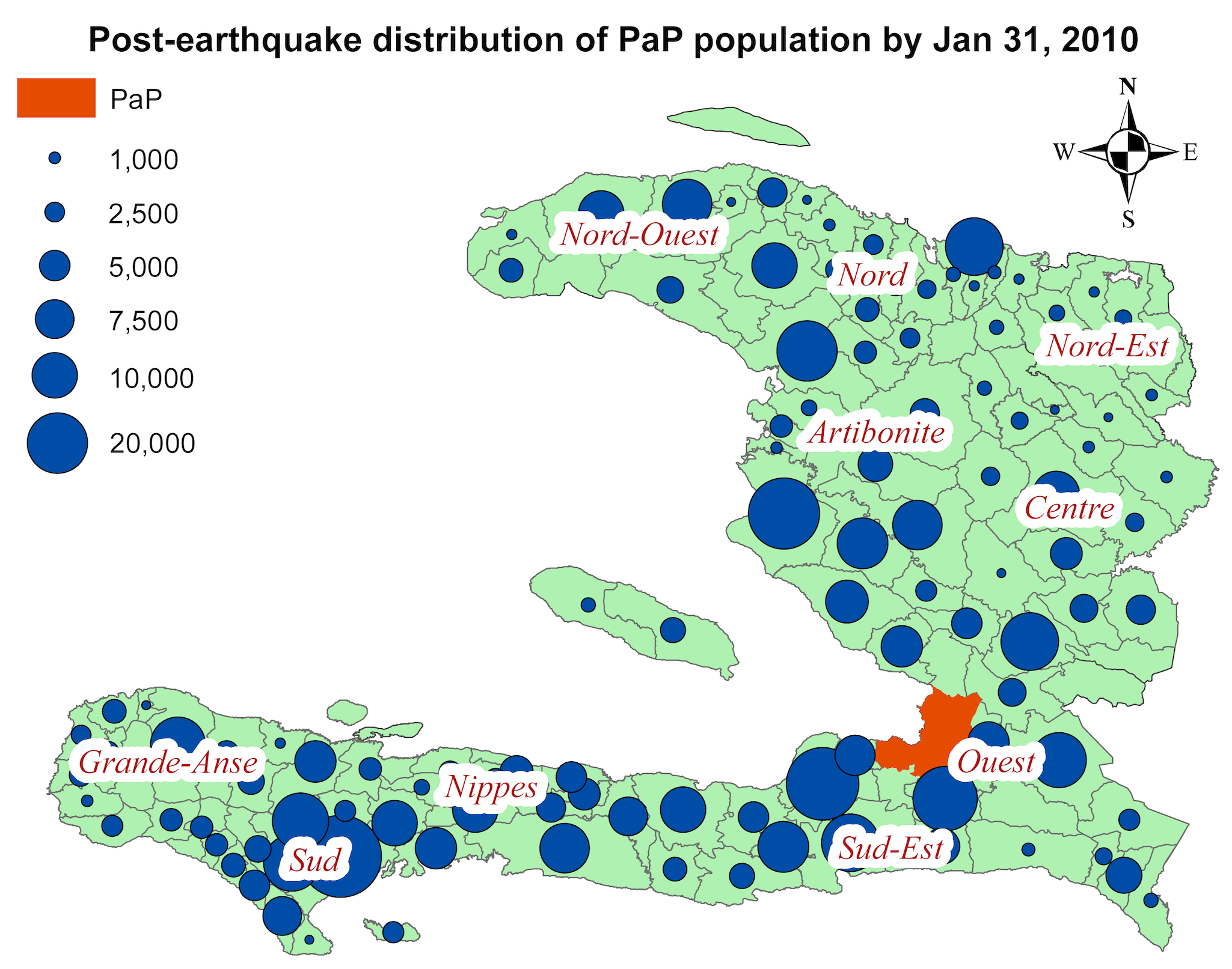 Estimated distribution of persons who were in PaP on the day of the earthquake but outside PaP 19 d after the earthquake.