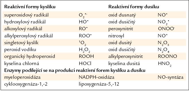 Přehled reaktivních forem kyslíku a dusíku, jejich hlavní enzymatické zdroje. Upraveno podle [7,9].