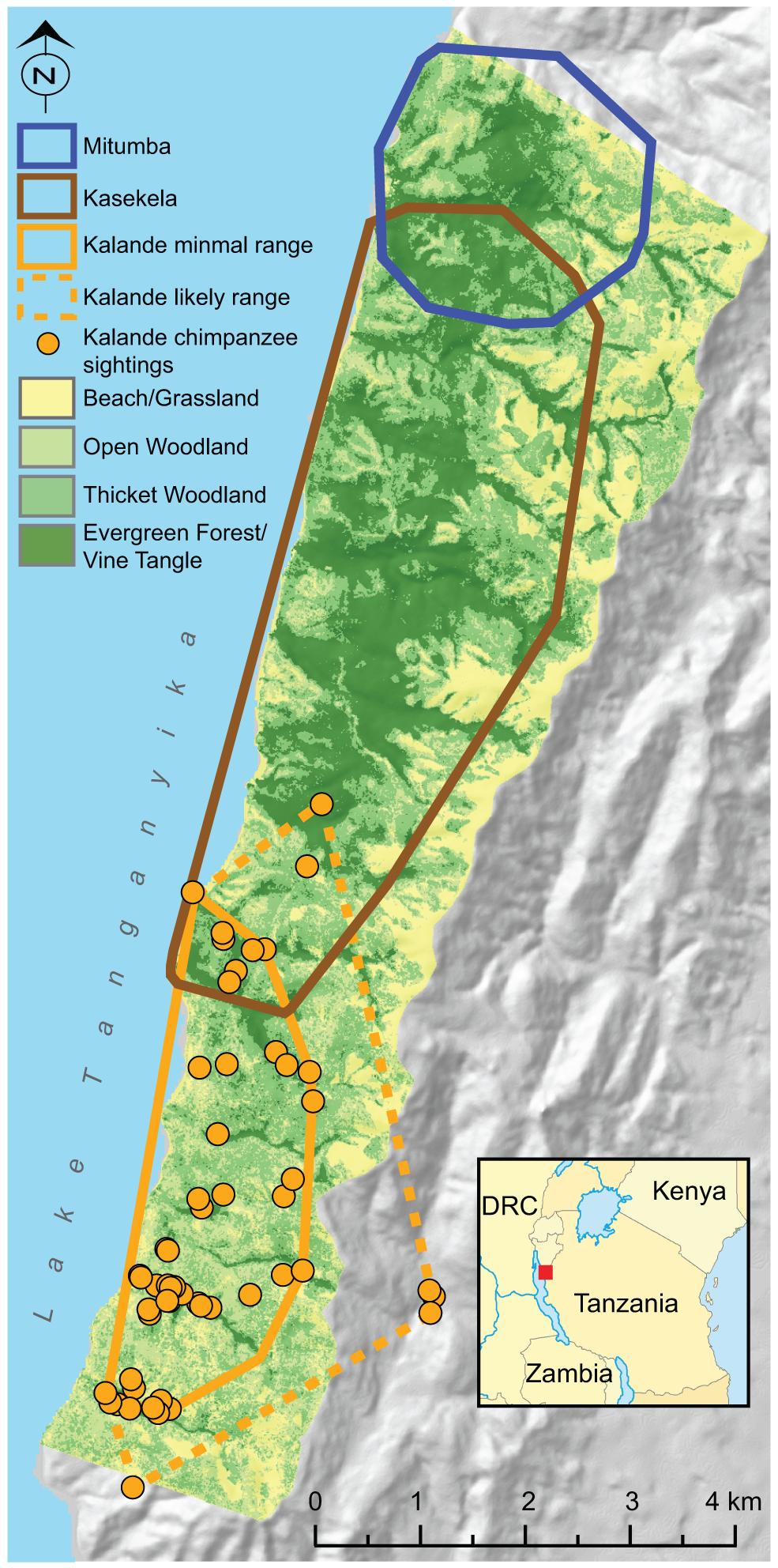 Map of Gombe National Park, Tanzania.