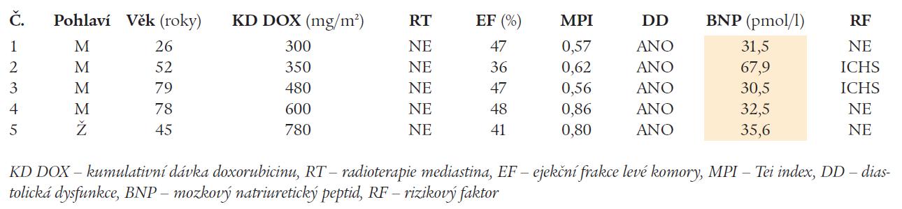 Charakteristika nemocných s hodnotami BNP > 29 pmol/l.