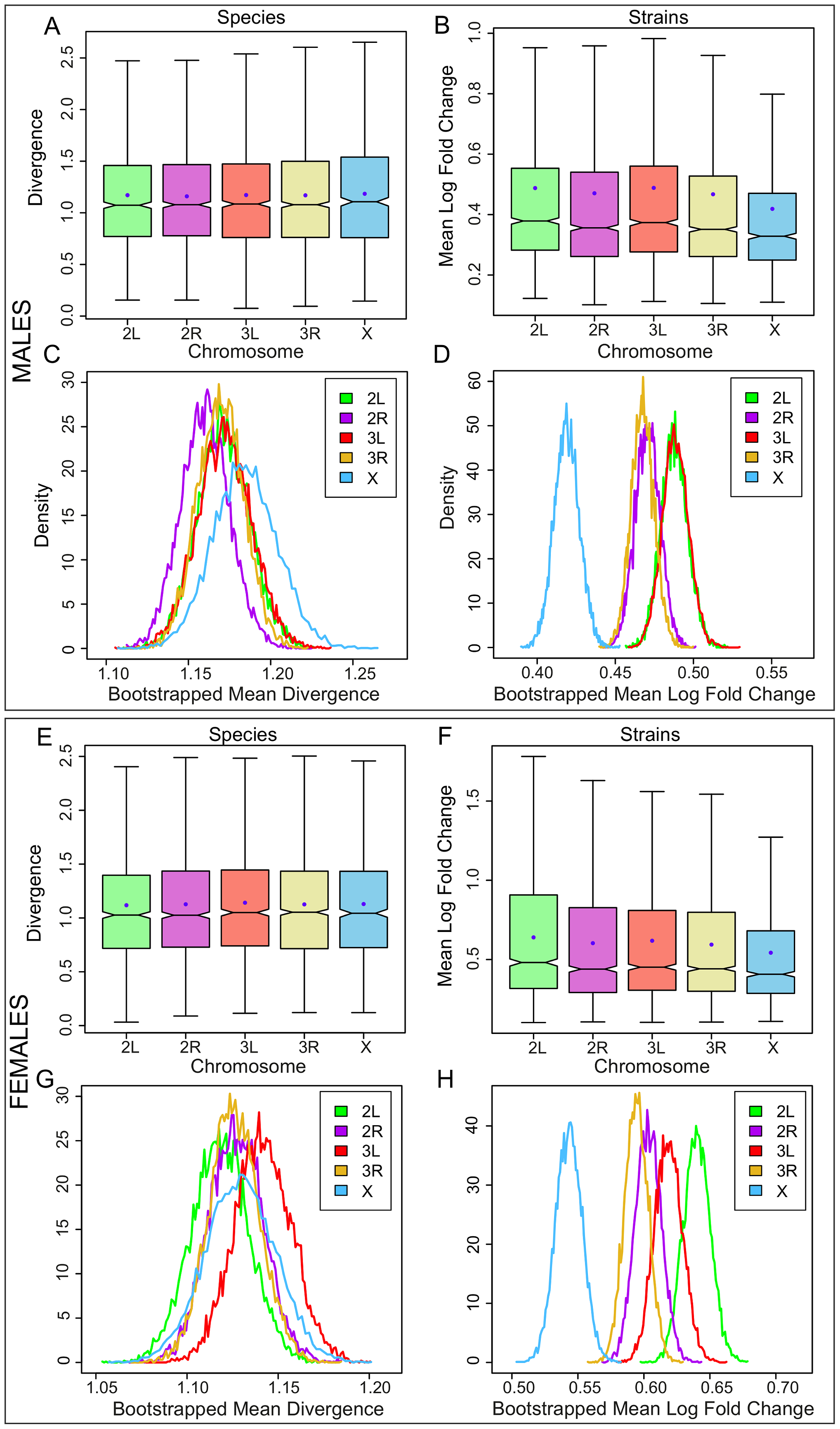 Gene expression divergence is not higher on the X chromosome in <i>Drosophila</i> adults but is lower in <i>D. melanogaster</i> adult strains.