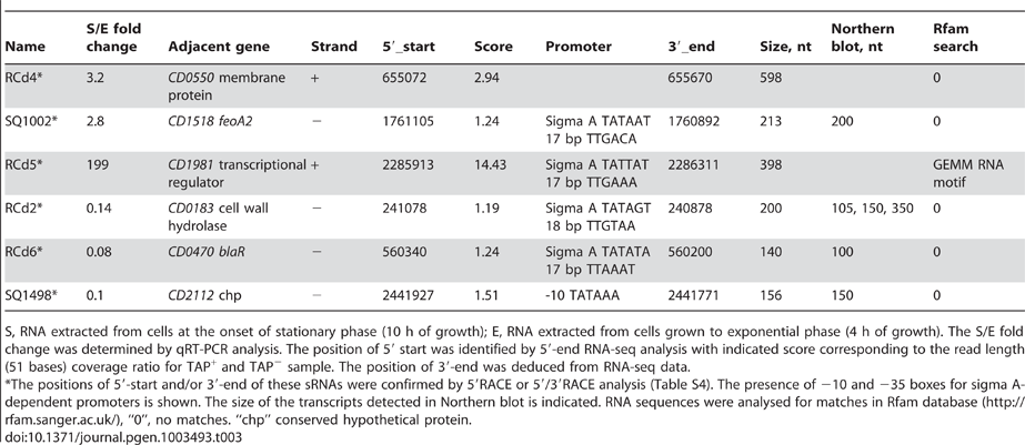 Growth phase-regulated sRNAs.