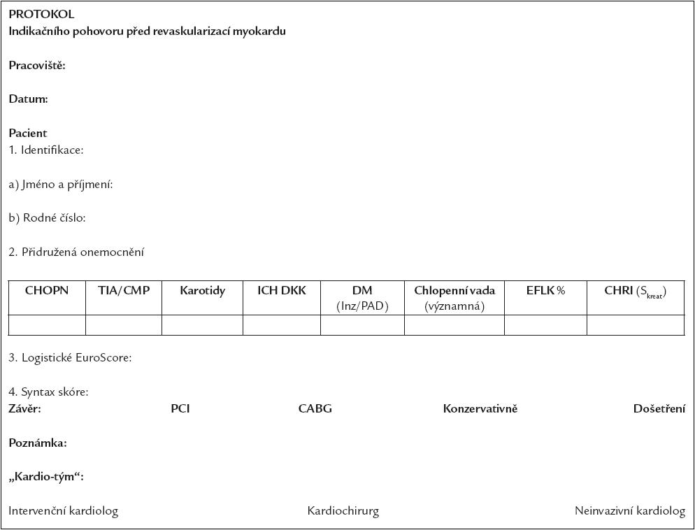Příloha 1. Protokol indikačního pohovoru před revaskularizací myokardu.
