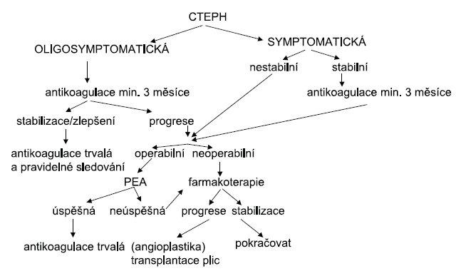 Terapeutický algoritmus u chronické tromboembolické plicní hypertenze CTEPH – chronická tromboembolická plicní hypertenze, PEA – endarterektomie plicnice