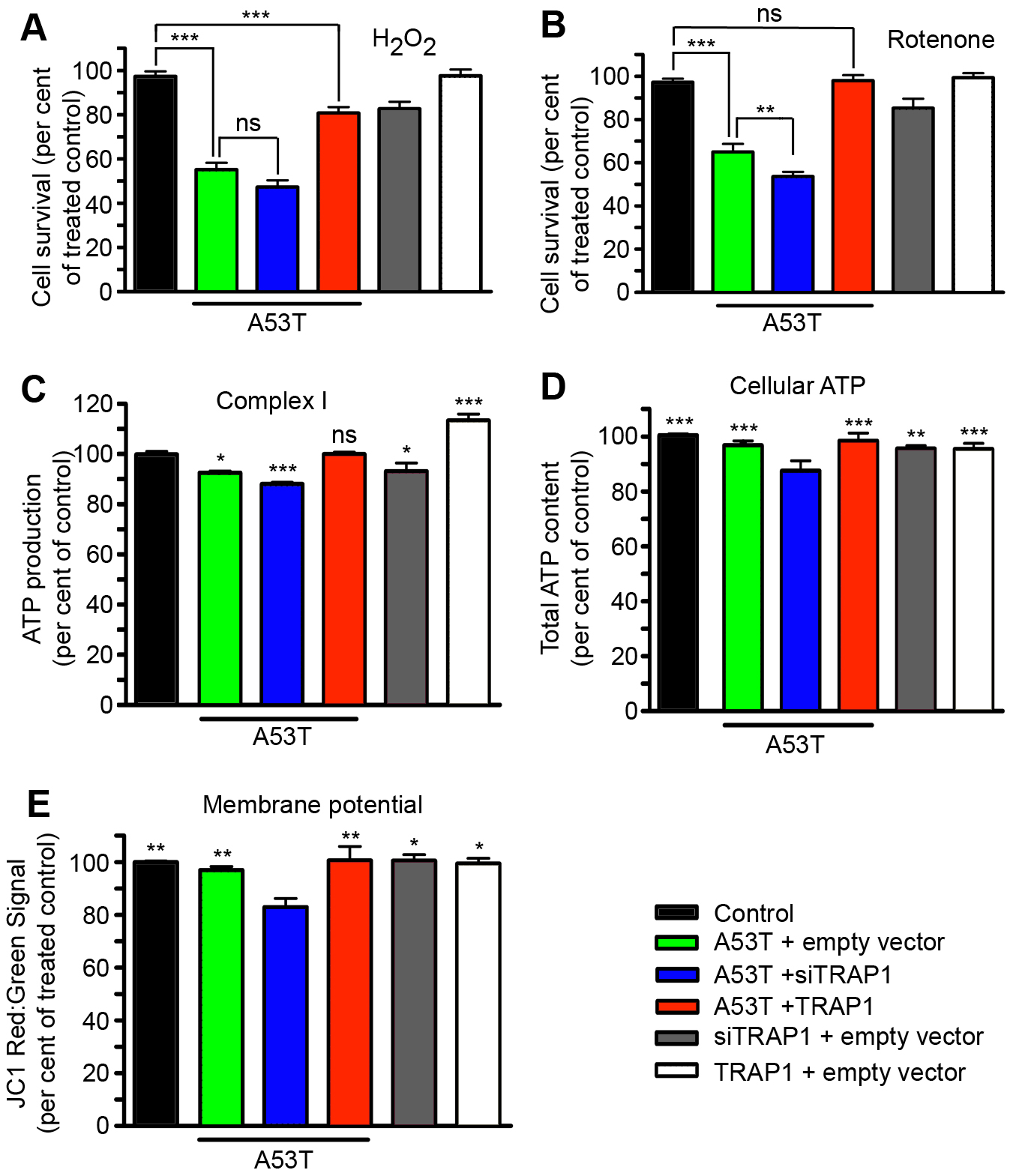 Alterations in TRAP1 levels influence [A53T]α-Synuclein-induced sensitivity to oxidative stress and mitochondrial effects in HEK293 cells.