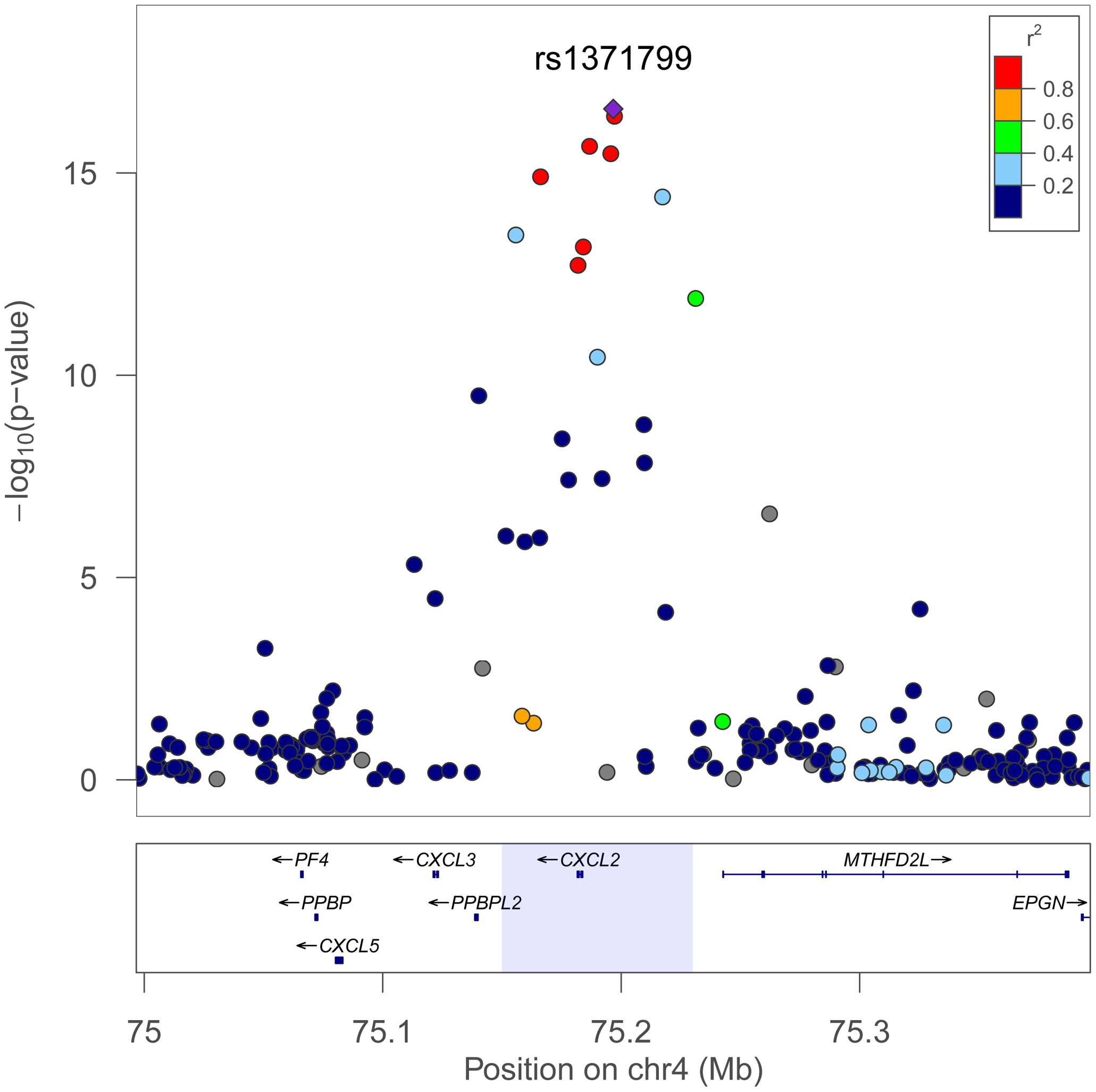 Trans-population meta-analysis results for total WBC count at the chromosome 4q13 <i>CXCL2</i> locus.
