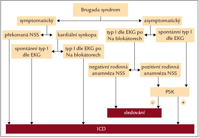 Doporučený postup při indikaci implantace implantabilního kardioverteru-defibrilátoru u pacientů s Brugada syndromem. NSS – náhlá srdeční smrt, PSK – programovaná stimulace komor, ICD – implantabilní kardioverter-defibrilátor.